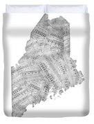 Maine Map Music Notes Duvet Cover