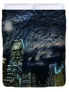 Majestic Chicago - Windy City Riverfront At Night Duvet Cover