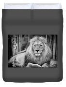 Majestic Male Lion Black And White Photo Duvet Cover