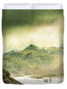 Majestic Morning Lake Duvet Cover