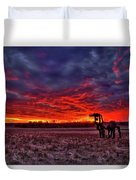 Majestic Red Clouds Winter Sunset The Iron Horse Art Duvet Cover