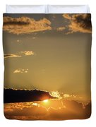 Majestic Vivid Sunset/sunrise With Dark Heavy Clouds And Sunrays Duvet Cover