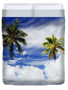 Majuro Atoll, Two Coconut Trees Lean Over Duvet Cover