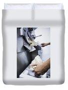 Making Gelato Ice Cream With Modern Machine Duvet Cover