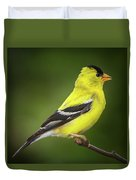 Male American Golden Finch On Twig Duvet Cover