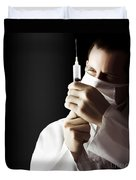 Male Doctor With Needle Syringe On Dark Background Duvet Cover