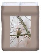 Male Downey Woodpecker Duvet Cover