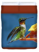 Male Hummingbird Spreading Wings Duvet Cover