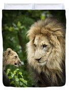 Male Lion And Cub Duvet Cover