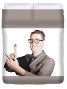 Male Office Pa Writing In Diary. Event Planner Duvet Cover by Jorgo Photography - Wall Art Gallery