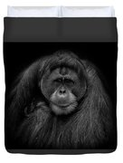 Male Orangutan Black And White Portrait Duvet Cover