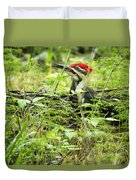 Male Pileated Woodpecker On The Ground No. 2 Duvet Cover