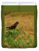 Male Red-winged Blackbird Singing Duvet Cover