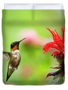Male Ruby-throated Hummingbird Hovering Near Flowers Duvet Cover