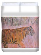 Adult Male Tiger Of India Striding At Sunset  Duvet Cover