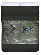 Drake Wood Duck On Pond Duvet Cover