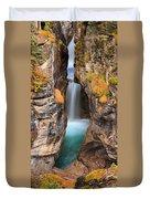 Maligne Canyon Falls Vertical Panorama Duvet Cover