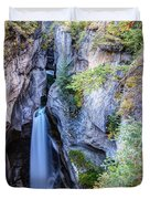 Maligne Canyon Waterfall Duvet Cover