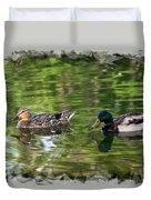Mallard Couple On A Pond Duvet Cover