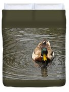 Mallard Duck Drake With Water Droplets On Bill Duvet Cover