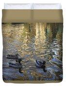 Mallard Ducks On The Canal #1107 Duvet Cover
