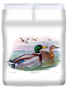 Mallard Or Wild Duck Antique Bird Print Joseph Wolf Birds Of Great Britain  Duvet Cover