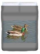Mallard Pair Swimming, Waterfowl, Ducks Duvet Cover