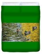 Mallards On Golden Pond 3 Duvet Cover