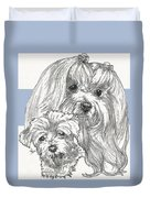 Maltese And Pup Duvet Cover
