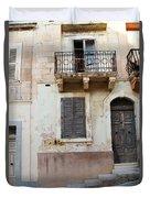 Maltese House On A Steep Street Duvet Cover