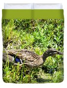Mama Duck On Guard Duvet Cover