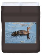 Mama Mallard And Her Ducklings Duvet Cover