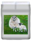 Mamma And Baby Sheep Of Ireland Duvet Cover