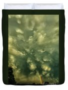 Mammatus Clouds And Double Rainbow Duvet Cover