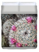 Mammillaria Cactus With Small Flowers Duvet Cover