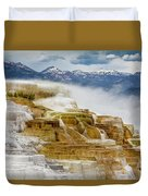 Mammoth Hot Springs In Yellowstone National Park, Wyoming. Duvet Cover