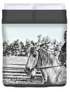 Man And His Horse Duvet Cover