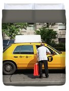 Man Asks For Information A Taxi Driver In Manhattan. Duvet Cover