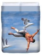 Man Being Carried By Bird Duvet Cover