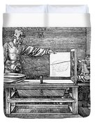 Man Drawing A Lute 1523 Duvet Cover