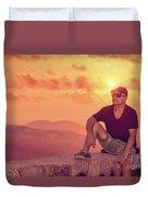 Man Enjoying Sunset Duvet Cover