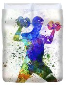 Man Exercising Weight Training Duvet Cover