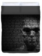 Man Face Blended With Flowing List Of Motivational Words Duvet Cover