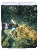 Man Free Diving Duvet Cover