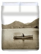 Man In A Row Boat Named Lizzie On Palmer Lake On The Colorado Di Duvet Cover