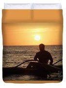 Man In Canoe Duvet Cover