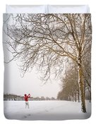 Man In Red Taking Picture Of Snowy Field And Trees Duvet Cover