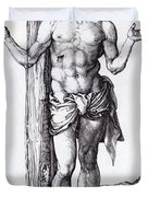 Man Of Sorrows With Hands Raised 1500 Duvet Cover