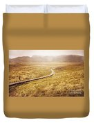 Man On Expedition Along Cradle Mountain Boardwalk Duvet Cover