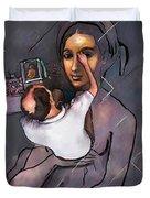 Man Painting Woman Duvet Cover